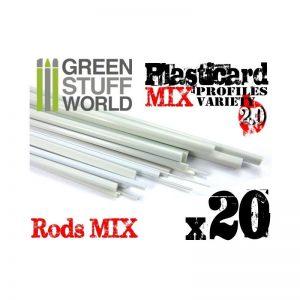 Green Stuff World   Plasticard ABS Plasticard - Profile - 20x RODs Variety Pack - 8436554366996ES - 8436554366996