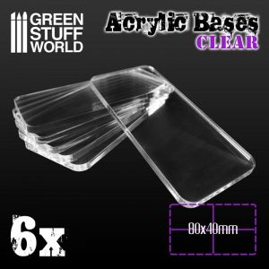 Green Stuff World   Acrylic Bases Acrylic Bases - Square 80x40mm CLEAR - 8436574503982ES - 8436574503982