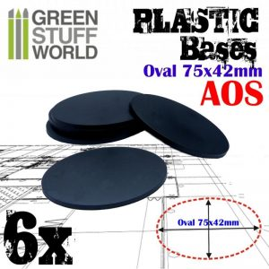 Green Stuff World   Plain Bases Plastic Bases - Oval Pill 75x42mm AOS - 8436574503890ES - 8436574503890