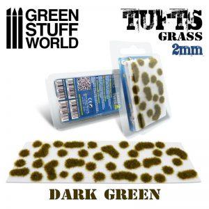 Green Stuff World   Tufts Grass TUFTS - 2mm self-adhesive - DARK GREEN - 8436574506969ES - 8436574506969