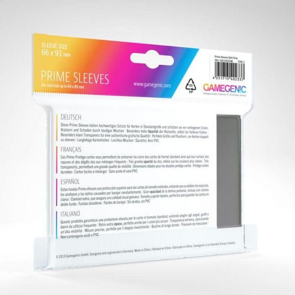 Gamegenic   SALE! Gamegenic Prime Sleeves Gray (100 pack) - GGS11025ML - 4251715402337