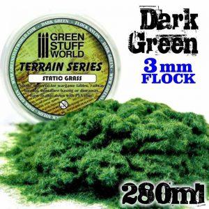 Green Stuff World   Sand & Flock Static Grass Flock 3 mm - Dark Green - 280 ml - 8436554365647ES - 8436554365647