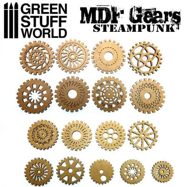Green Stuff World   Modelling Extras MDF Wood Steampunk Gears - 8436574500547ES - 8436574500547