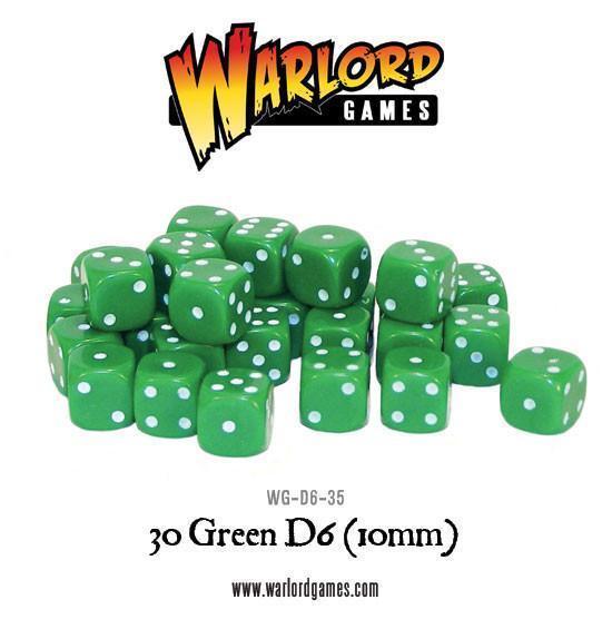 Warlord Games   D6 30 Green D6 (10mm) - WG-D6-35 - 5060200848296