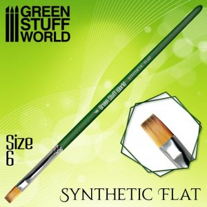 Green Stuff World   Green Stuff World Brushes GREEN SERIES Flat Synthetic Brush Size 6 - 8436574508154ES - 8436574508154