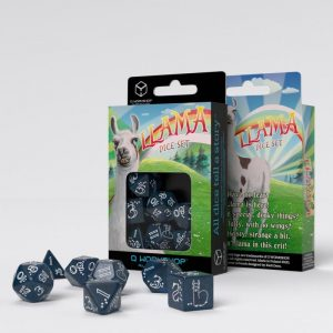 Q-Workshop   RPG / Polyhedral Shimmering Llama Dice Set (Glittering Dark Blue & White) - SLLA3F - 5907699495801