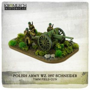 Kromlech   Kromlech Historical Polish Army wz.1897 Schneider 75mm field gun with crew (cannon + 3) - KHWW2011 - 5902216117648