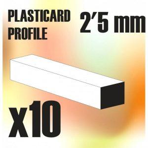 Green Stuff World   Plasticard ABS Plasticard - Profile SQUARED ROD 2.5mm - 8436554367436ES - 8436554367436