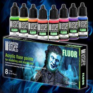 Green Stuff World   Paint Sets Set x8 Fluor Paints - 8436554368525ES - 8436554368525