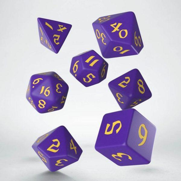 Q-Workshop   RPG / Polyhedral Classic Runic Purple & yellow Dice Set (7) - SCLR93 - 5907699494217