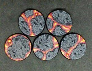 Baker Bases   Lava Lava: 40mm Round Bases (5) - CB-LV-01-40M - CB-LV-01-40M