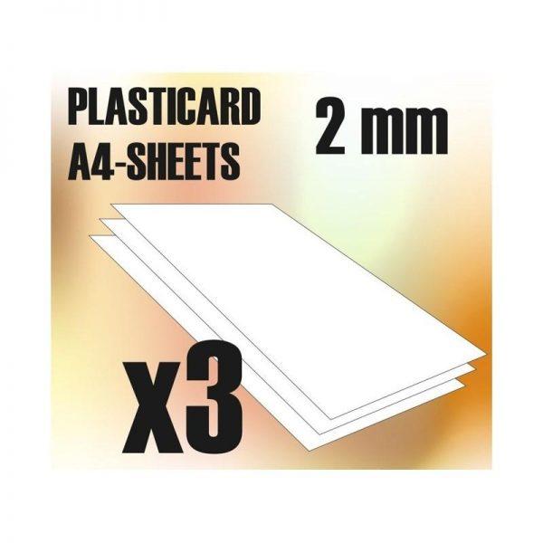 Green Stuff World   Plasticard ABS Plasticard A4 - 2 mm COMBOx3 sheets - 8436554366071ES - 8436554366071