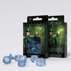 Q-Workshop   Q-Workshop Dice Elvish Translucent & blue Dice Set (7) - SELV11 - 5907814951250