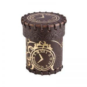 Q-Workshop   Dice Accessories Steampunk Brown & golden Leather Dice Cup - CSTE102 - 5907699492374