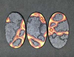 Baker Bases   Lava Lava: 75x42mm Oval Bases (3) - CB-LV-01-75v - CB-LV-01-75v