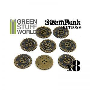 Green Stuff World   Costume & Cosplay 8x Steampunk Buttons SPROCKET GEARS - Bronze - 8436554366668ES - 8436554366668