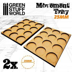 Green Stuff World   Movement Trays MDF Movement Trays 25mm 3x4 -  Skirmish Lines - 8436574502862ES - 8436574502862