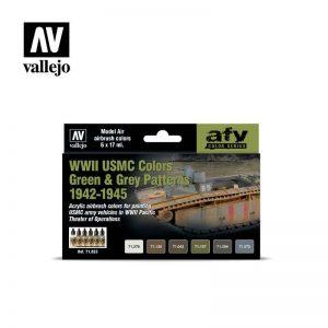 Vallejo   Model Air AV Model Air Set - WWII USMC Colors Green/Grey Patterns - VAL71623 - 8429551716239