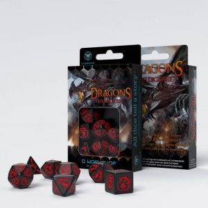 Q-Workshop   Q-Workshop Dice Dragons Black & red Dice Set (7) - SDRA06 - 5907814951632