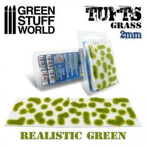 Green Stuff World   Tufts Grass TUFTS - 2mm self-adhesive - REALISTIC GREEN - 8436574506952ES - 8436574506952