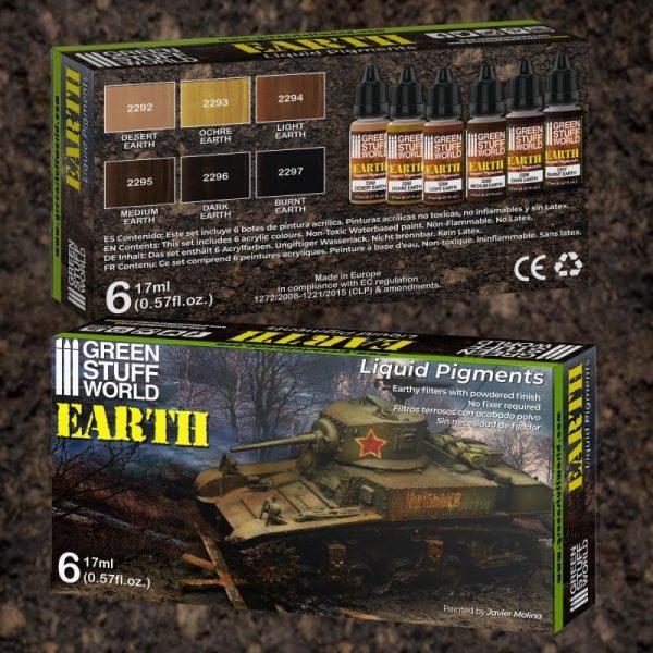 Green Stuff World   Liquid Pigments Liquid Pigments Set - Earth - 8436574506273ES - 8436574506273