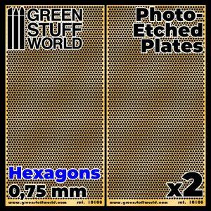 Green Stuff World   Etched Brass Photo-etched Plates - Medium Hexagons - 8436574506075ES - 8436574506075