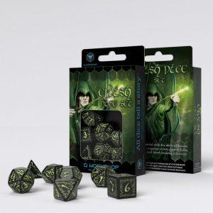 Q-Workshop   Q-Workshop Dice Elvish Black & glow-in-the-dark Dice Set (7) - SELV19 - 5907814951830