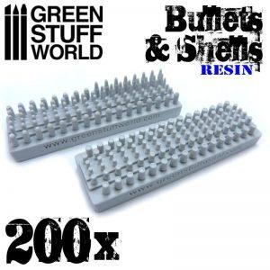 Green Stuff World   Green Stuff World Conversion Parts 200x Resin Bullets and Shells - 8436574500516ES - 8436574500516