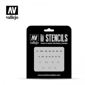 Vallejo   Stencils AV Vallejo Stencils - 1:35 Soviet Numbers WWII - VALST-AFV003 - 8429551986397