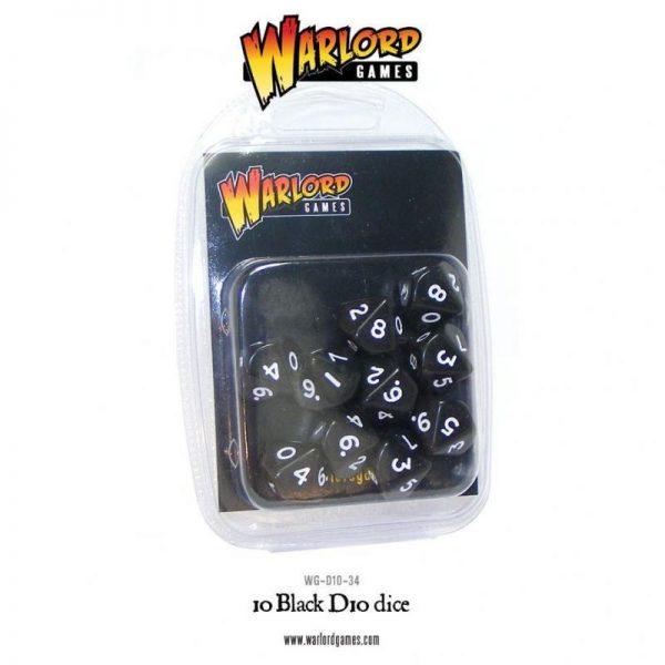 Warlord Games   D10 10 Black D10 - WG-D10-34 - 5060200849682