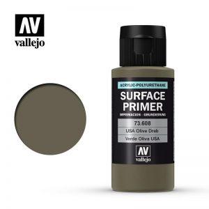 Vallejo   Model Air Primers AV Polyurethane - Primer US Olive Drab 60ml - VAL73608 - 8429551736084
