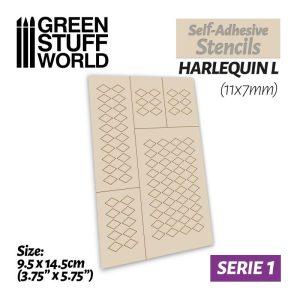 Green Stuff World   Stencils Self-adhesive stencils - Harlequin L - 11x7mm - 8436554369485ES -