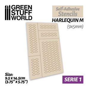 Green Stuff World   Stencils Self-adhesive stencils - Harlequin M - 9x5mm - 8436554369478ES -