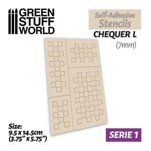 Green Stuff World   Stencils Self-adhesive stencils - Chequer L - 7mm - 8436574500028ES -