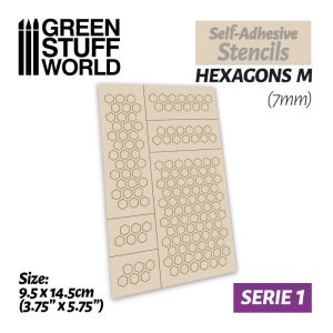 Green Stuff World   Stencils Self-adhesive stencils - Hexagons M - 7mm - 8436554369447ES -