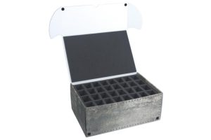 Safe and Sound   Safe and Sound Cases Combi BOX with 100mm deep raster foam tray and foam tray for 32 miniatures on 40mm bases - SAFE-C-R10032M - 5907222526866