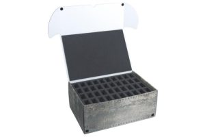 Safe and Sound   Safe and Sound Cases Combi BOX with 100mm deep raster foam tray and foam tray for 40 miniatures on 25mm bases - SAFE-C-R10040M - 5907222526002
