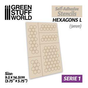 Green Stuff World   Stencils Self-adhesive stencils - Hexagons L - 9mm - 8436554369454ES -