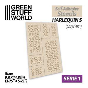 Green Stuff World   Stencils Self-adhesive stencils - Harlequin S - 6x3mm - 8436554369461ES -