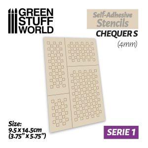 Green Stuff World   Stencils Self-adhesive stencils - Chequer S - 4mm - 8436574500004ES -